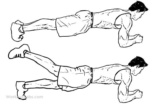 Повдигане на крак от позиция планк