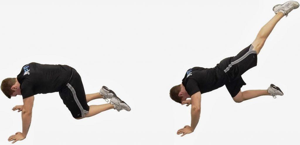 Повдигане на един крак от позиция с лице към пода