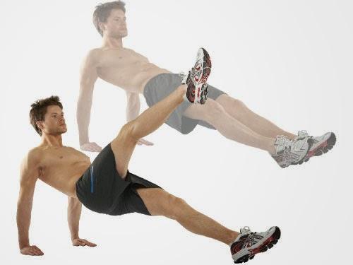 Повдигане на един крак от позиция обратен планк