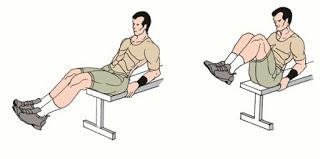 Повдигания на колене към гърди на пейка